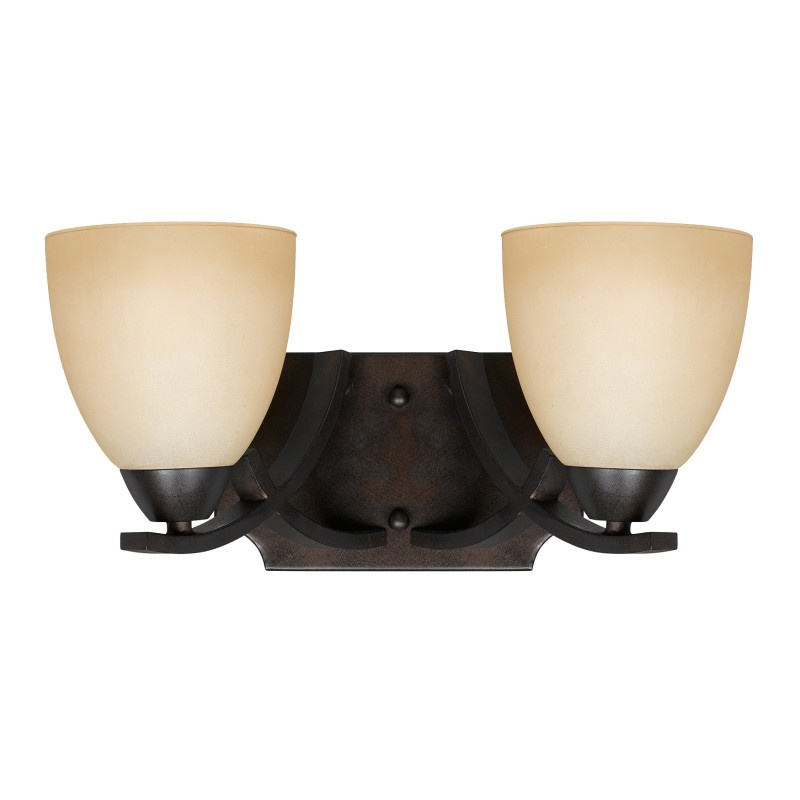 Lumenno International - Series 8000 2 Light Bath Vanity In A Bronze Finish And Tea Stained Glass ...