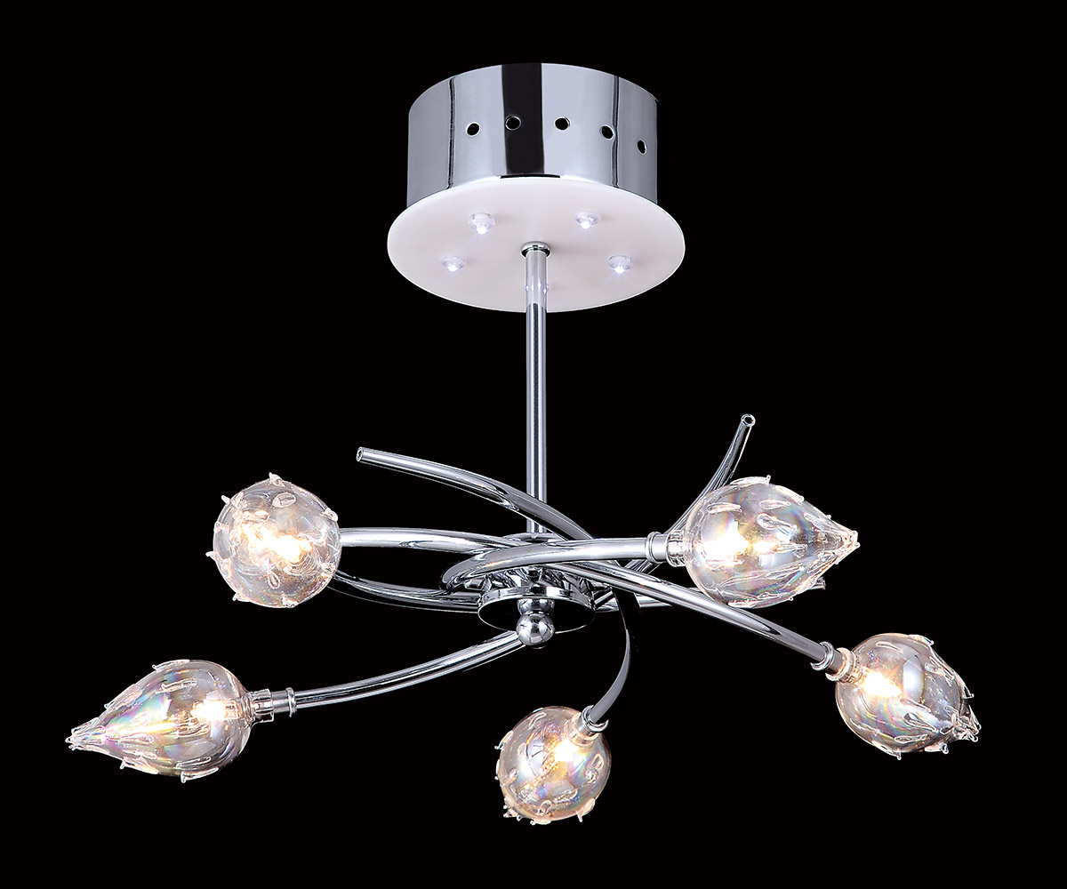 10-Light Chrome Ceiling Fixture W/ Plastic Bulb