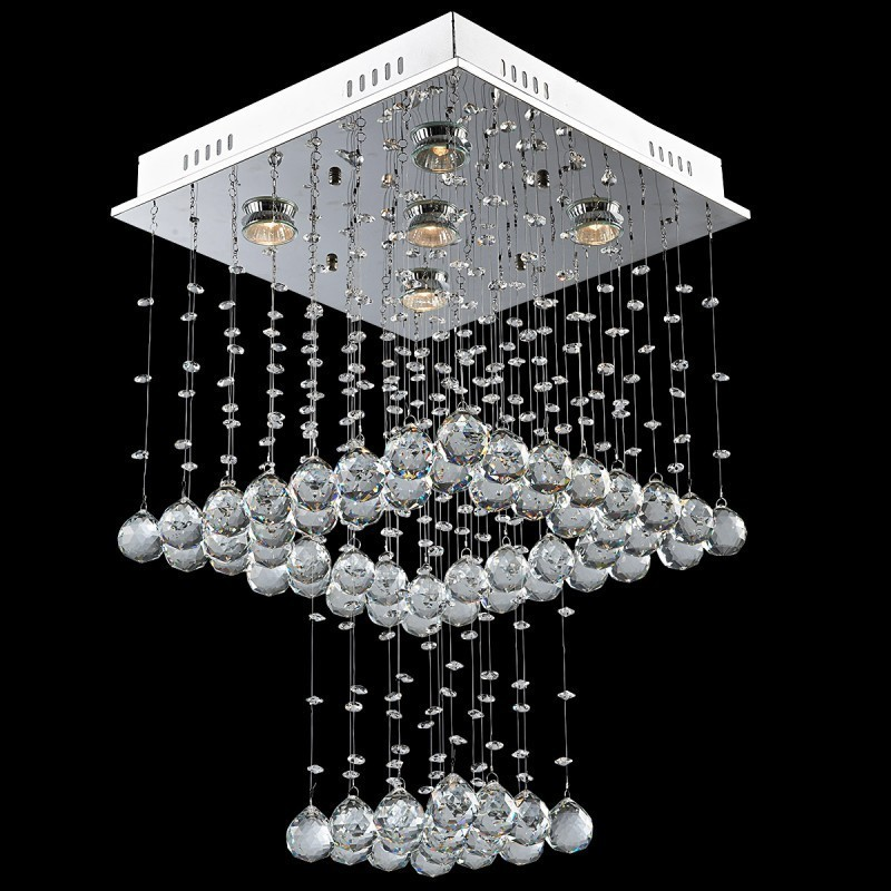 Evrosvet Contemporary 5 Light Square Waterfall Crystal