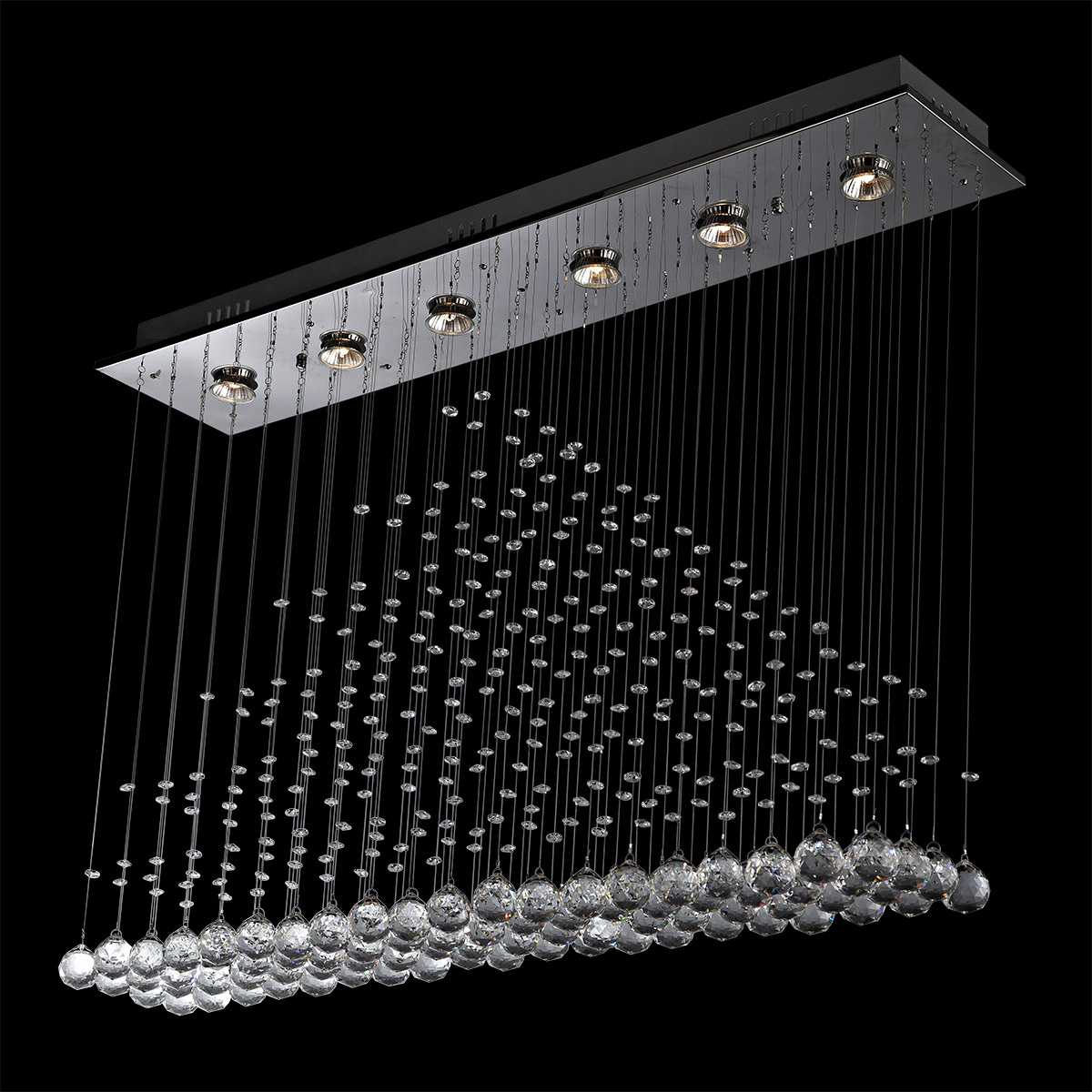 Crystal Chandelier Rectangle: Contemporary 6-Light Rectangular Pyramid