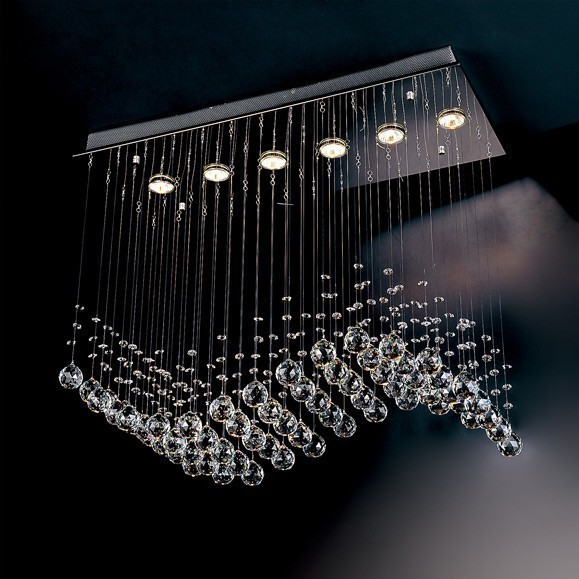 Evrosvet Contemporary 6 Light Crystal Wave Chandelier