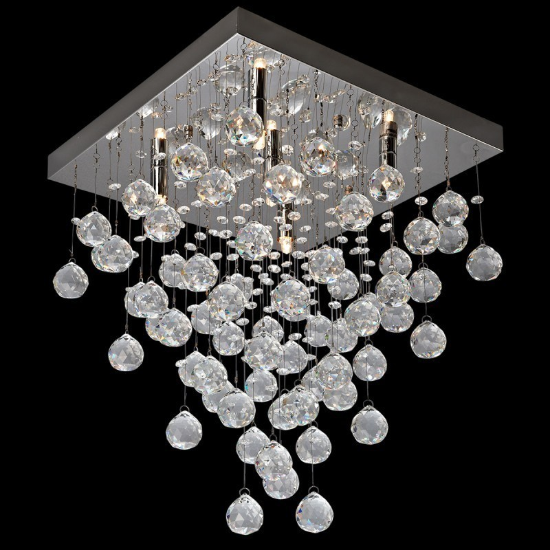 5 Light Crystal Square Flush Mounted Chandelier 16 X Loading Zoom