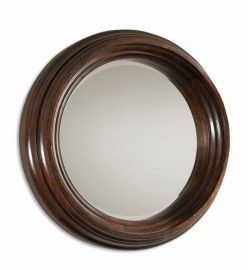 01901 B Cristiano Round Dark Wood Mirror
