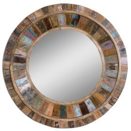 04017 Jeremiah Round Wood Mirror