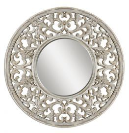09510 Cordillera Distressed Ivory Mirror
