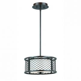 Series 1000 2 Light Pendant In A Bronze Finish And Frosted White Glass