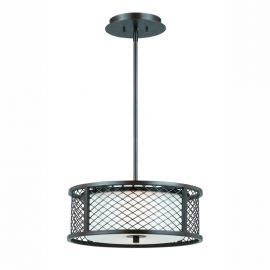 Series 1000 3 Light Pendant In A Bronze Finish And White Frosted Glass