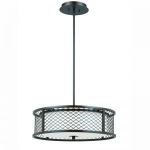 Series 1000 4 Light Pendant In A Bronze Finish With A Frosted White Glass