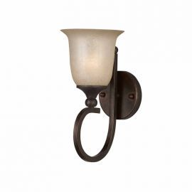 Series 1001 1 Light Wall Sconce In A Bronze Finish And Tea Stained Glass