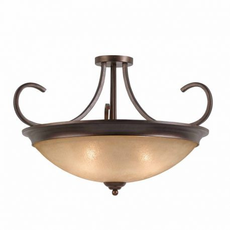 Series 1001 4 Light Semi-flush/pendant Convertible In A Bronze Finish And Tea Stained Glass