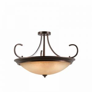 Series 1001 10 Light Semi-flush/pendant Convertible In A Bronze Finish And Tea Stained Glass