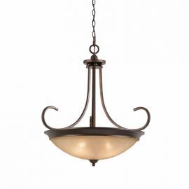 Series 1001 4 Light Pendant In A Bronze Finish And Tea Stained Glass