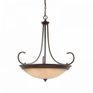Series 1001 10 Light Pendant In A Bronze Finish And Tea Stained Glass