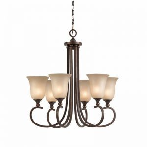 Series 1001 6 Light Chandelier In A Bronze Finish And Tea Stained Glass