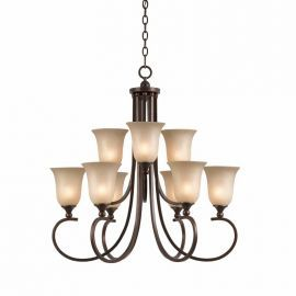 Series 1001 9 Light Chandelier In A Bronze Finish And Tea Stained Glass