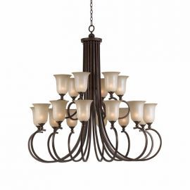 Series 1001 18 Light Entry Chandelier In A Bronze Finish And Tea Stained Glass