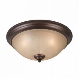 Series 1001 3 Light Flush Mount In A Bronze Finish Tea Stained Glass