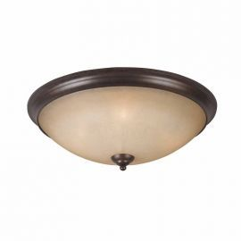 Series 1001 4 Light Flush Mount On A Bronze Finish And Tea Stained Glass