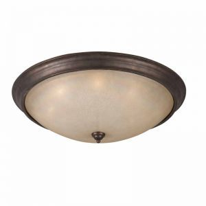 Series 1001 8 Light Flush Mount On A Bronze Finish And Tea Stained Glass