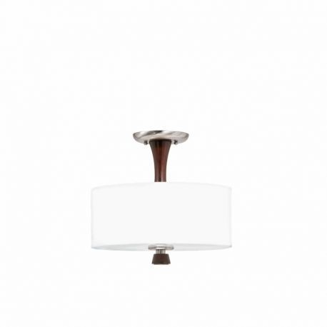 Series 1002 2 Light Semi Flush Mount In A Satin Nickel And Redwood Finish With A Whit Drum Linen Shade