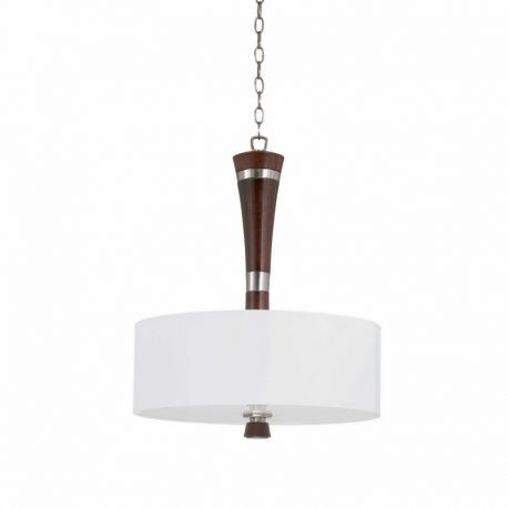 Series 1002 3 Light Pendant In A Satin Nickel And Redwood Finish With A White Linen Drum Shade