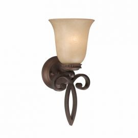 Series 1003 1 Light Sconce In A Bronze Finish And Tea Stained Glass