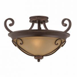 Series 1003 (small) Semi-flush Mount In A  Bronze Finish With Tea Stained Glass Optional Scroll Work Included
