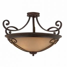 Series 1003 (medium) Semi-flush Mount In A  Bronze Finish With Tea Stained Glass  Optional Scroll Worn Included