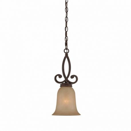 Series 1003 Mini Pendant In A Bronze Finish And Tea Stained Glass