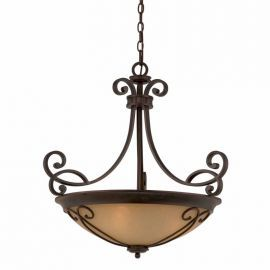 Series 1003 (medium) 4-light Pendant In A Bronze Finish With Tea Stained Glass   Optional Scrollwork Included