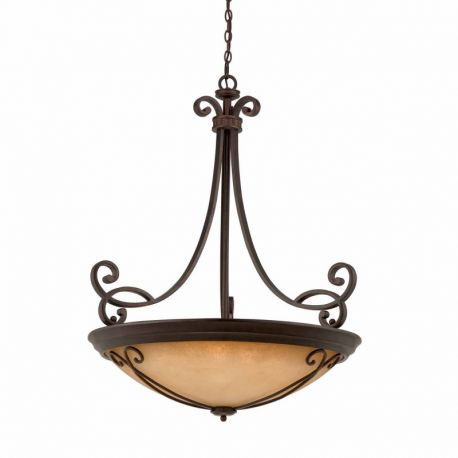 Series 1003 (large) 10-light Pendant In A Bronze Finish With  Tea Stained Glass  Optional Scrollwork Is Included