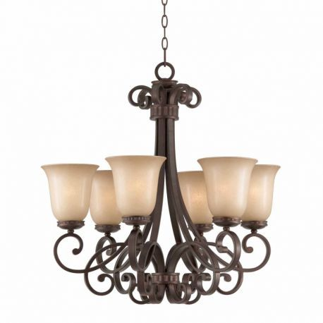 Series 1003 6 Light Chandelier In A Bronze Finish With  Tea Stained Glass