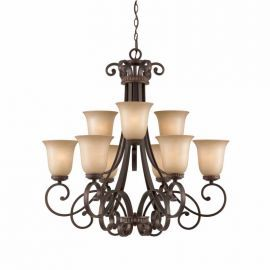 Series 1003 2 Tier 9 Light Chandelier In A Bronze Finish With Tea Stained Glass