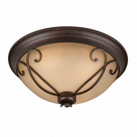 Series 1003 (small) Flush Mount In A Bronze Finish With Tea Stained Glass