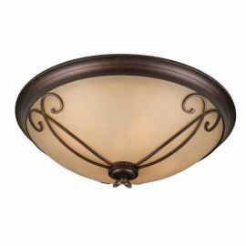 Series 1003 (medium) Flush Mount In A Bronze Finish With Tea Stained Glass Optional Scrollwork Included