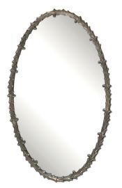 12844 Costano Silver Leaf Oval Mirror