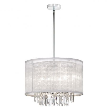 15123-PC-119 3-Light Chrome Crystal Pendant w/ White Organza Drum Shade