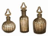 19141 Kaho Antique Silver Perfume Bottles S/3
