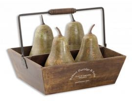 19170 Decorative Pears In Basket Set/5