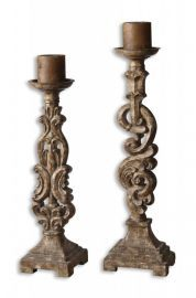 19218 Gia Antique Candleholders, Set/2