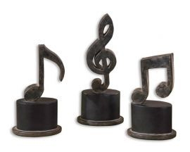 19280 Music Notes Metal Figurines, Set/3