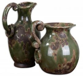 19429 Hani Forest Green Pitchers, Set/2