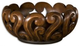 19493 Merida Wood Tone Decorative Bowl
