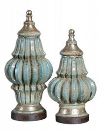 19546 Fatima Sky Blue Decorative Urns, Set/2