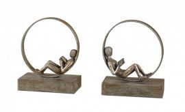 19596 Lounging Reader Antique Bookends Set/2