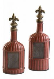 19600 Rawley Red Decorative Bottles, Set/2