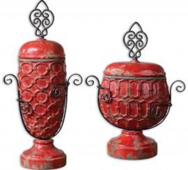 19619 Ancel Faded Red Ceramic Urns, Set/2
