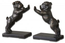 19643 Bulldogs Cast Iron Bookends, Set/2