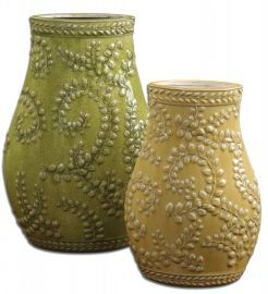 19695 Trailing Leaves Ceramic Vases, Set/2