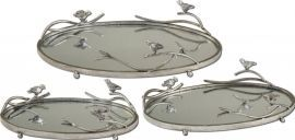 19710 Birds On A Limb Mirrored Trays, Set/3